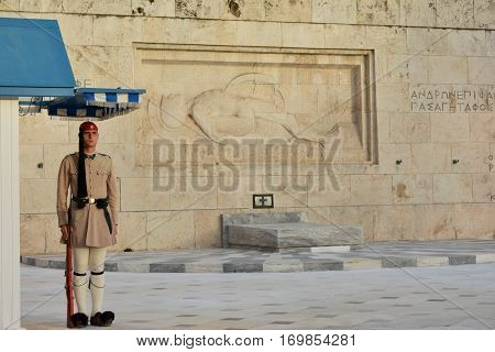 ATHENS, GREECE - OCTOBER 17: Guard Mounting in front of the Tomb of Unknown Soldier with famous greek elite unit Evzones OCTOBER 17, 2014 in Athens, Greece