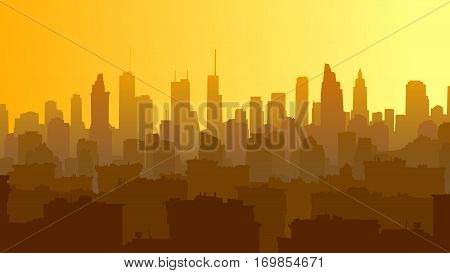 Horizontal illustration of big city with roofs of houses and skyscrapers at sunset.