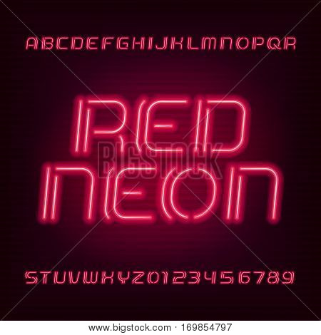Neon tube alphabet font. Type letters and numbers. Red color on a dark background. Vector typeface for your design.