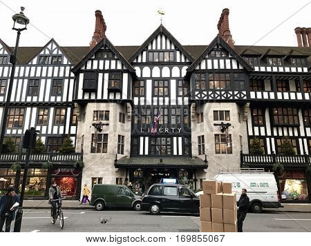 LONDON - DECEMBER 23: The front exterior of Liberty Department Store on December 23, 2016 in Soho, London, UK.