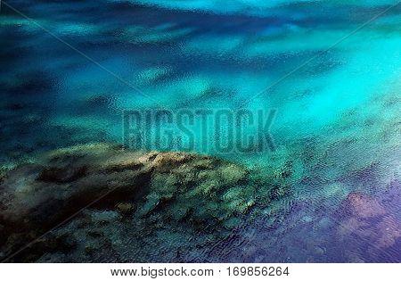 Amazing multicolor water of Five Flower Lake (Wuhua Hai) in Jiuzhaigou valley Sichuan province China