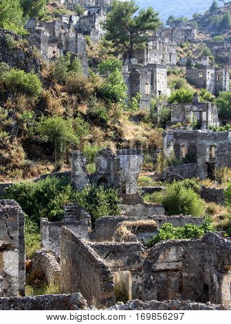 Ghost town of Kayakoy (Turkey) background x
