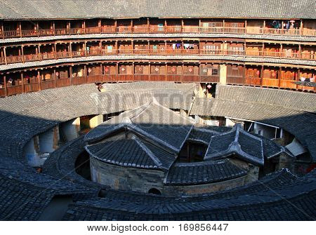 Yongding, Fujian Province, China - Oct 23, 2009: The Inner Part Of Round Tulou (