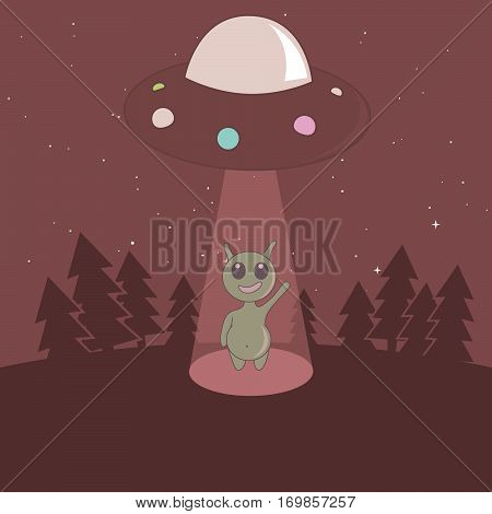 Cute humanoid touchdown to Earth from UFO in the forest.Cartoon childish vector illustration.