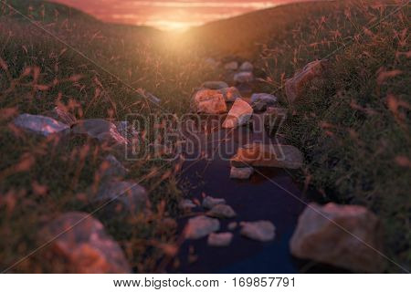 3d rendering of calm stream at grassland in front of beautiful sunset
