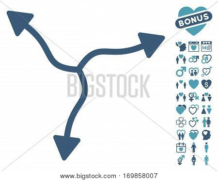 Curve Arrows icon with bonus decorative pictograph collection. Vector illustration style is flat rounded iconic cyan and blue symbols on white background.