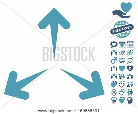 Expand Arrows pictograph with bonus marriage pictures. Vector illustration style is flat rounded iconic cyan and blue symbols on white background.