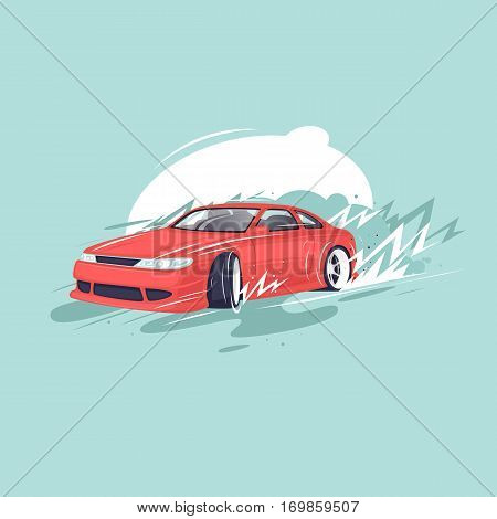 Drift car. Sport. Flat design vector illustration.