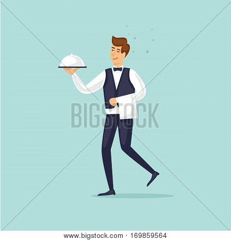 Restaurant waiter brings a dish. Flat vector illustration in cartoon style.