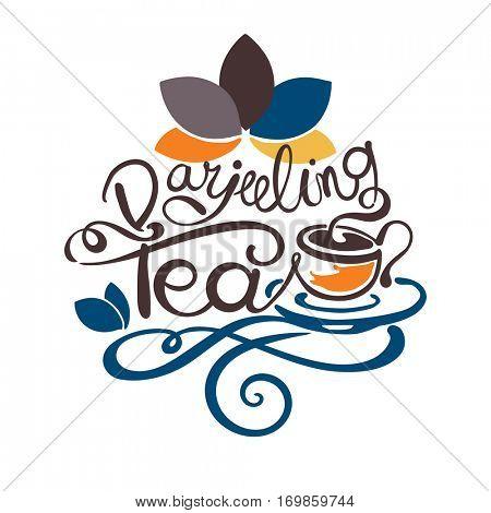 Lettering - Darjeeling Tea.  A tea from the Darjeeling district in West Bengal, India