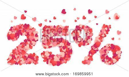 25 percent Valentines Day discount sign made from heart shape pink and red vector confetti