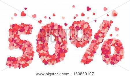 50 percent Valentines Day discount sign made from heart shape pink and red vector confetti