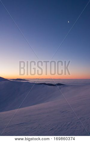 Colorful Winter Minutes Before Sunrise In The Carpathian Mountains