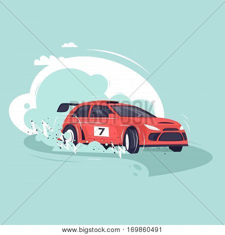 Rally car. Flat vector illustration in cartoon style.