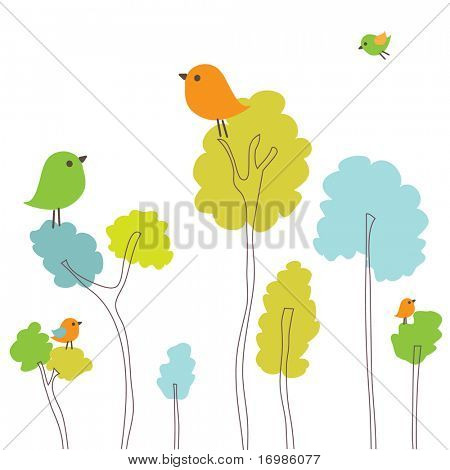 Spring card with birds on the trees
