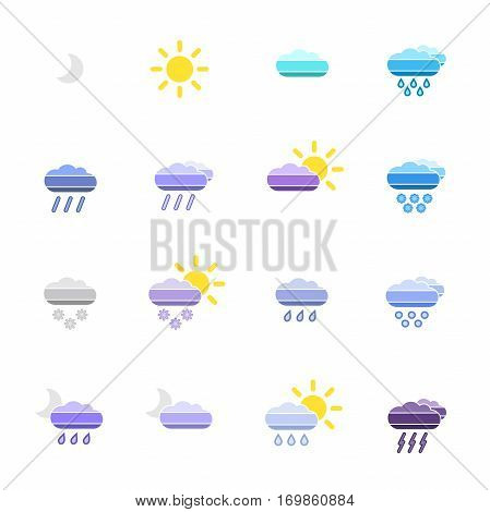 set with different weather icons with colorful background