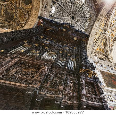 TIRANO, ITALY - JULY 1, 2016: Tirano (Sondrio Lombardy Italy) the historic church known as Sanctuary. Interior