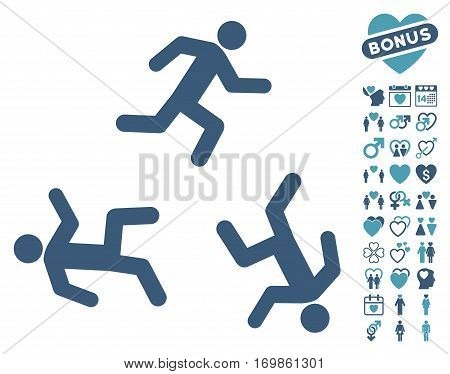 Running Men pictograph with bonus lovely icon set. Vector illustration style is flat rounded iconic cyan and blue symbols on white background.