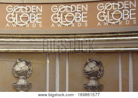 BEVERLY HILLS, CA - JANUARY 10: Golden Globes Awards, sign, atmosphere at the 73rd Annual Golden Globe Awards at the Beverly Hilton Hotel on January 10, 2016 in Beverly Hills, California