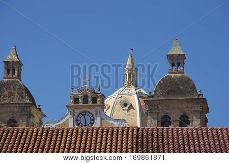 Towers and dome of the historic Iglesia de San Pedro Claver in the Spanish colonial city of Cartagena in Colombia.