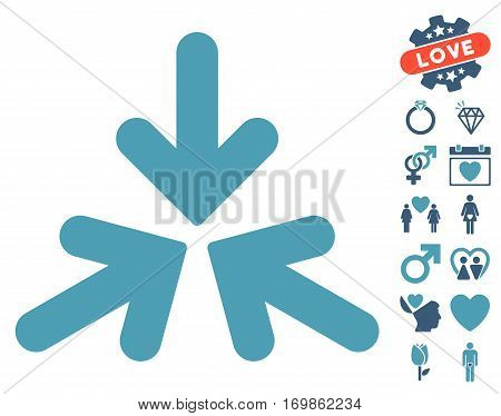 Triple Collide Arrows icon with bonus marriage pictures. Vector illustration style is flat rounded iconic cyan and blue symbols on white background.