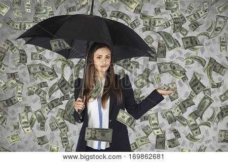 Business Woman Hiding Under An Umbrella, Falling Money,