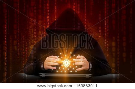 Hacker attacks secure network. Hacking the network concept design