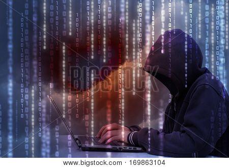 Hacker steals data concept design illustration banner
