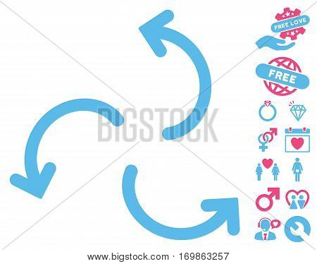 Cyclone Arrows pictograph with bonus decorative pictograph collection. Vector illustration style is flat rounded iconic pink and blue symbols on white background.