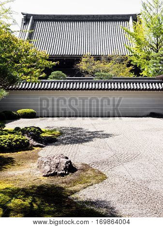 Kyoto, Japan - October 2, 2015: Japanese temple garden of rock and sand inside Nanzenji temple complex