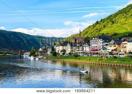 View of the wine town Cochem at the Moselle in Germany. August 2014