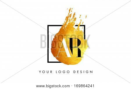 AR Circular Letter Brush Logo. Pink Brush with Splash Concept Design.