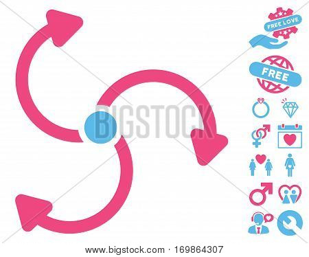 Fan Rotation icon with bonus dating pictograms. Vector illustration style is flat rounded iconic pink and blue symbols on white background.
