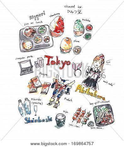 Illustration memory of Tokyo. Food and fun experience drawing doodle
