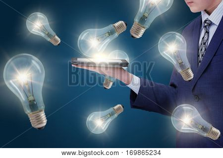Ideas for business from the Internet concept design illustration banner
