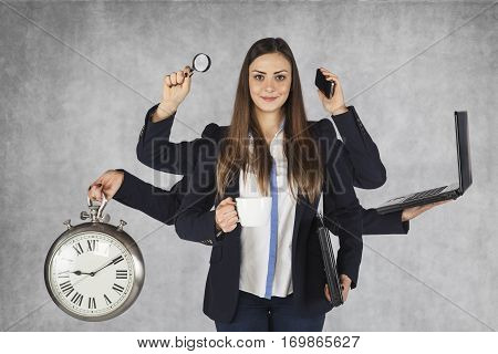 Multi-purpose Business Woman With A Large Number Of Hands