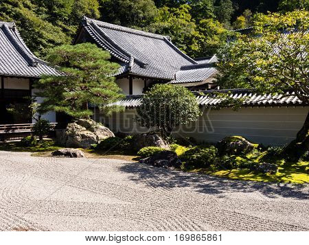 Kyoto, Japan - October 2, 2015: Traditional Japanese rock and sand garden inside Nanzenji temple complex