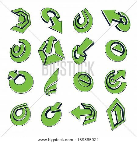Geometric Abstract Vector Shapes. Collection Of Green Arrows, Navigation Pictograms And Multimedia S