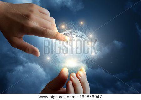 Intonational Global Network. Concept Of Modern Business Technology.