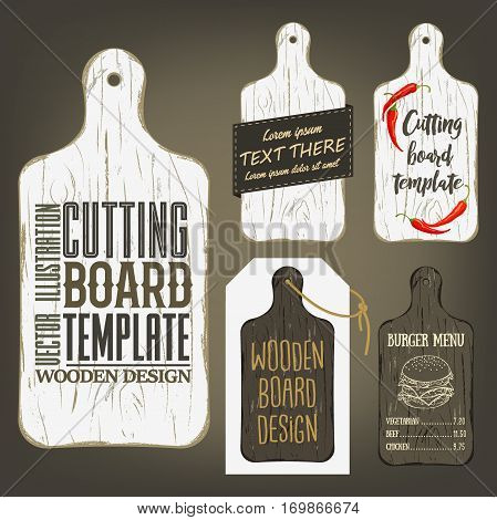 Wood cutting board template with usage examples. Vector illustration with textured plank used as mockup for label, logo, card, poster, advertising bar or pizzeria menu.