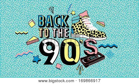 Back to the 90's.Memphis poster, invitation card and banner with geometric elements, sneakers and tape cassette. Vector illustration in trendy 80s-90s Memphis style.