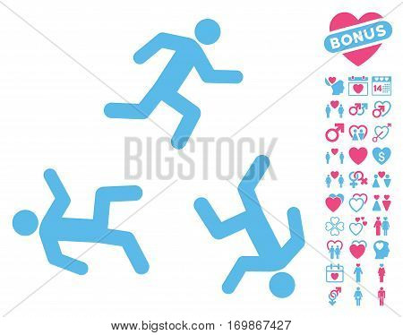 Running Men pictograph with bonus romantic design elements. Vector illustration style is flat rounded iconic pink and blue symbols on white background.