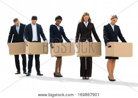 Unemployed People Standing With Cardboard Boxes After Layoff. Isolated On White poster