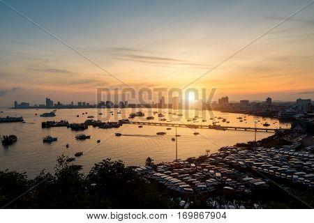 Pattaya city skyline and pier at morning in Pattaya Chonburi Thailand