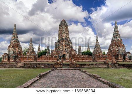 Wat Chaiwatthanaram in Ayutthaya Historical park Ayutthaya Thailand.