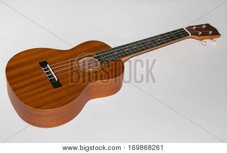 Modern hawaii ukulele guitar isolated on white background