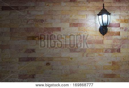 lantern on a modern stone wall background