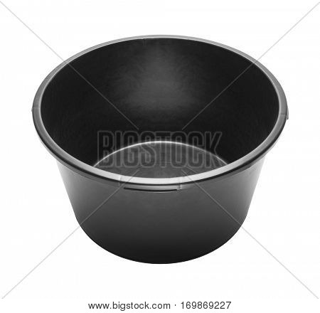 Round heavy duty black plastic basin for construction works. Isolated on white.