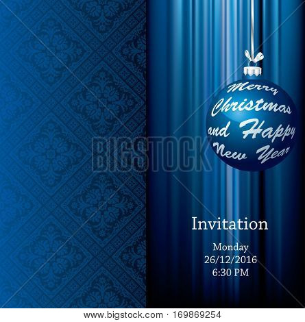 invitation card with blue christmas ball, vector christmas background