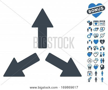 Expand Arrows pictograph with bonus passion pictures. Vector illustration style is flat rounded iconic smooth blue symbols on white background.